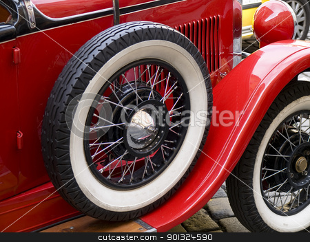 old car tyre stock photo, old classic car wheels and tyres by nevenm