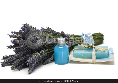 Lavender, gel and soap. stock photo, Lavender and hygiene items made of lavender isolated on a white background. by angelsimon