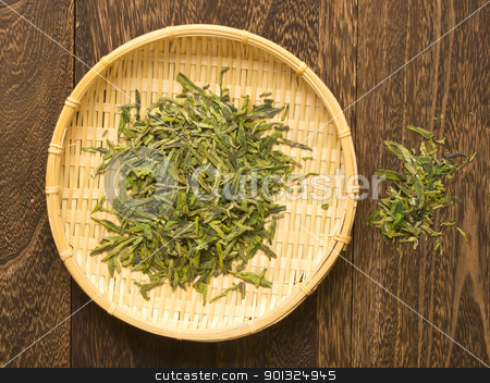 basket of chinese tea stock photo, close up of a basket of chinese tea by zkruger