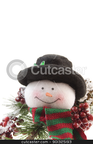 snowman with pine branch stock photo, Christmas snowman with pine branch, red berries and copyspace by Lee Barnwell