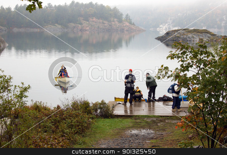 Lake stock photo, Canoing at George Lake in overcast day. Killarney Prov. Park  by Pavel Cheiko