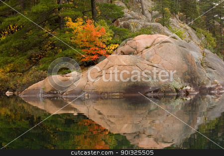 Reflection stock photo, Reflection of colorful forest in lake surface in the overcast day by Pavel Cheiko