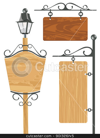 blank wooden signboard collection stock photo, blank wooden signboard collection - vector illustration by ojal_2