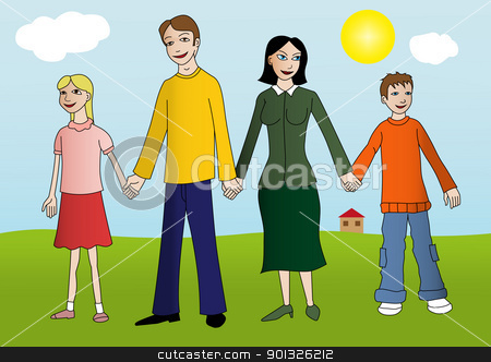 Happy young family stock vector clipart,  Happy young family hold their hands and standing on the green grass in front of their house. The sky is blue and the sun is shine. by aos1212