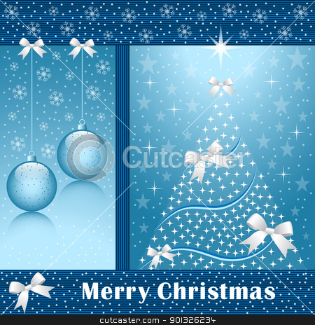 Xmas tree, balls and bows stock vector clipart, Christmas tree, balls, bows, stars, snowflakes and snow on a blue background. by toots77