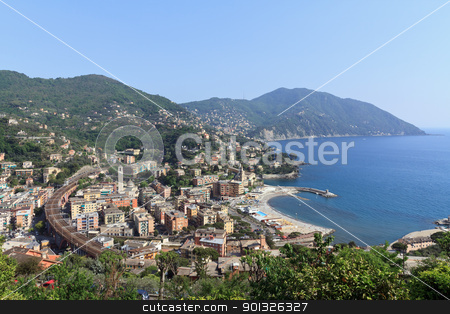 Recco, overview stock photo, aerial view of Recco, small town in Liguria, Italy by ANTONIO SCARPI
