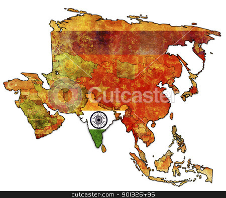 india stock photo, old political map of asia with flag of india by michal812