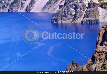 Blue Crater Lake Rim White Boat Oregon stock photo, Blue Crater Lake Rim White Boat Oregon Pacific Northwest by William Perry