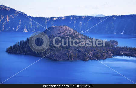 Wizard Island Crater Lake Blue Sky Oregon stock photo, Crater Lake Wizard Island Blue Sky Oregon Pacific Northwest by William Perry