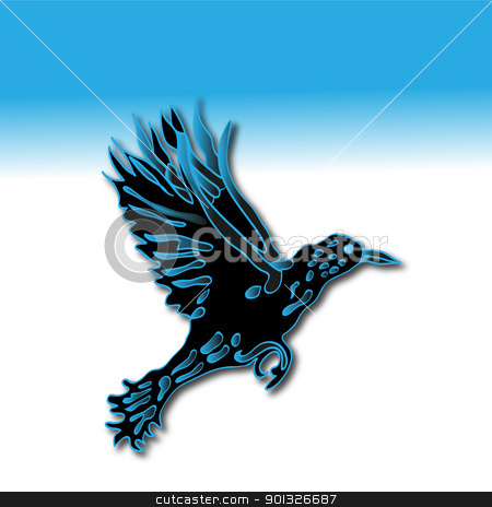 Silhouette of crow in the dark-blue tones stock photo, Silhouette of crow in dark-blue tones against blue background by BELL1313