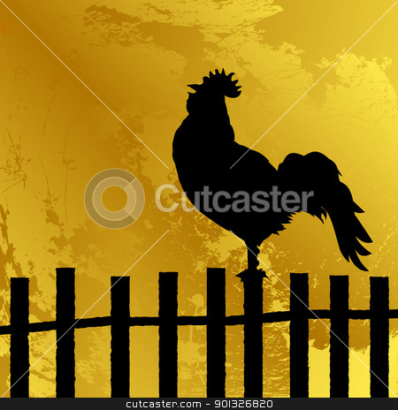 Cock silhouette stock vector clipart, Abstract background with a cock silhouette on a fence, grunge art by Richard Laschon