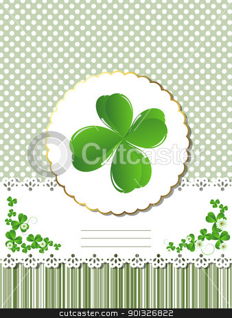 Decorative Saint Patrick card stock vector clipart, Decorative card  for St.Patrick's Day with four leaves clover and room for text. by Richard Laschon