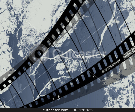 film reel grunge stock vector clipart, Background with grunge film reel by Richard Laschon