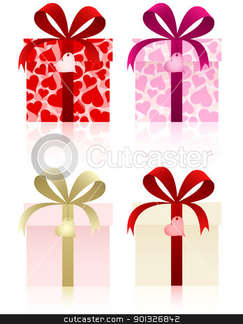 Gifts set stock vector clipart, Gifts set for Valentine's day and other holidays. by wingedcats