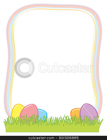 Easter Egg Border stock vector clipart, A border with easter eggs in the grass at the bottom. by Jamie Slavy