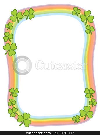 Shamrock And Rainbow Border stock vector clipart, A shamrock and rainbow border for Saint Patrick's Day. by Jamie Slavy