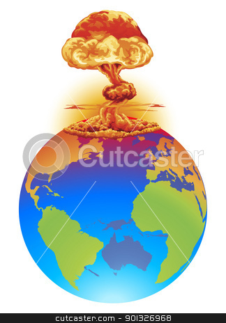 Explosion earth disaster concept stock vector clipart, A mushroom cloud explosion on the world globe. Concept global disaster, catastrophe, end of the world etc. by Christos Georghiou