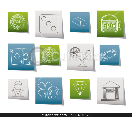 casino and gambling icons stock vector clipart, casino and gambling icons - vector icon set by Stoyan Haytov