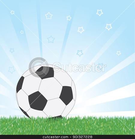 Soccer ball on star blue shiny background stock vector clipart, Soccer ball on star blue shiny background by antkevyv