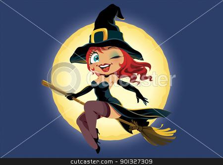 Halloween Girl stock photo, The Girl, flying on the broom, vector illustration by Vlad3563