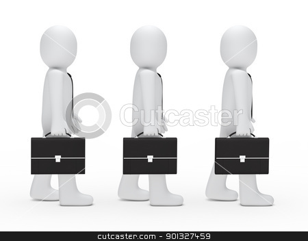 3d man tie briefcase stock photo, 3d man tie briefcase stand in series by d3images
