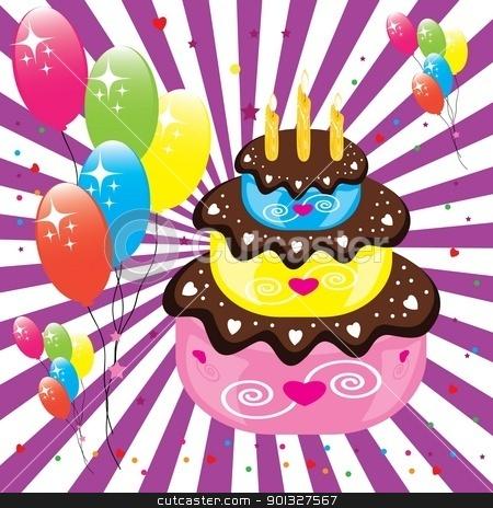 Birthday cake stock photo, Birthday cake. Illustration on white background for design  by dvarg