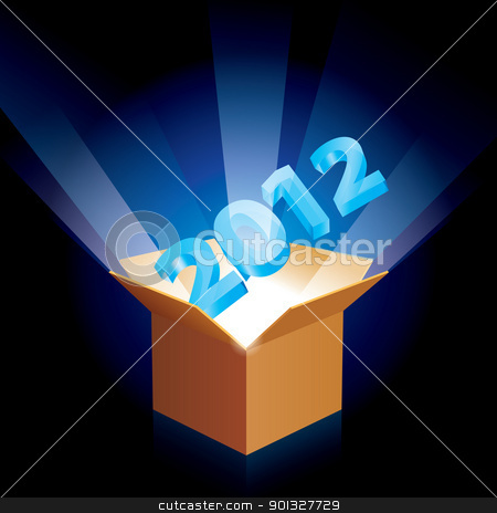 Cardboard box with new year stock photo, Open cardboard box twenty twelve with the new year emerging  by dvarg
