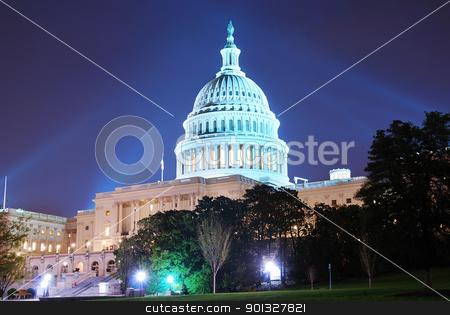 Capitol Hill Building, Washington DC stock photo, Capitol hill building at night illuminated with light, Washington DC.  by rabbit75_cut