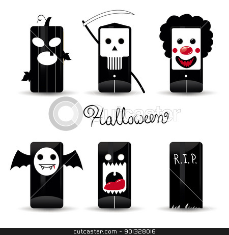 Halloween icon pack stock vector clipart, Halloween icons - pumpkin, death, evil clown, dracula vampire, monster, grave by aos1212