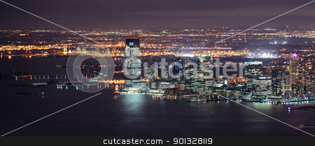 New Jersey night Panorama from New York City Manhattan stock photo, New Jersey panorama night view from New York City Manhattan with Hudson River and skyscrapers. by rabbit75_cut