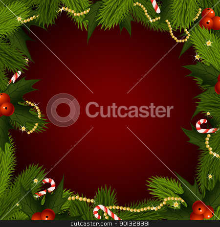 Christmas Background stock vector clipart, Empty Christmas frame with fir-tree and mistletoe by Vadym Nechyporenko