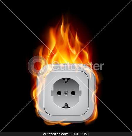 Realistic burning socket stock photo, Realistic burning socket. Illustration on white background for design   by dvarg