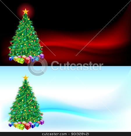 Christmas tree and gifts stock photo, Christmas tree and gifts  - Christmas card for design by dvarg