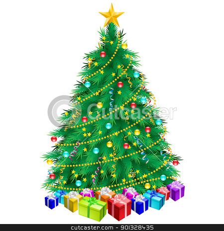 Christmas tree and gifts  stock photo, Christmas tree and gifts. Illustration on white background by dvarg
