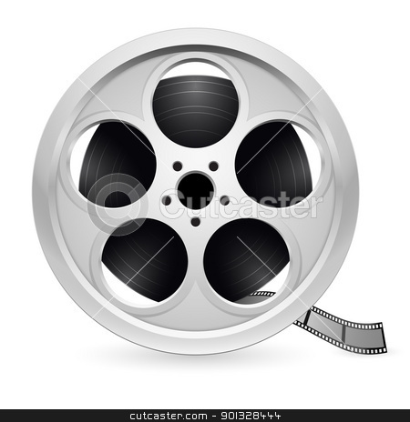 Realistic reel of film stock photo, Realistic reel of film. Illustration on white background by dvarg