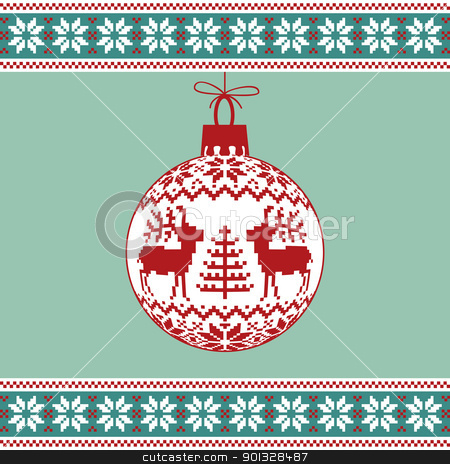 Christmas ball with nordic pattern stock vector clipart, Christmas green background, ball with nordic pattern by Ela Kwasniewski
