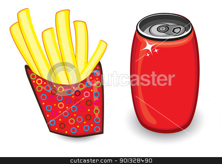 Fast food in Vector format stock photo, Illustration with french fries and red drink can on white by dvarg