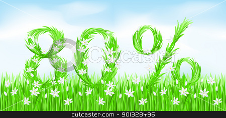 Eco-Style Grass Letters. stock photo, Eco-Style Grass Letters. Eighty percent. Vector version letters is in my gallery. by dvarg