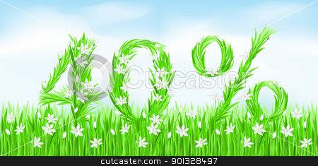 Eco-Style Grass Letters. stock photo, Eco-Style Grass Letters. Forty percent. Vector version letters is in my gallery. by dvarg