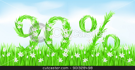 Eco-Style Grass Letters. stock photo, Eco-Style Grass Letters. Ninety percent. Vector version letters is in my gallery. by dvarg