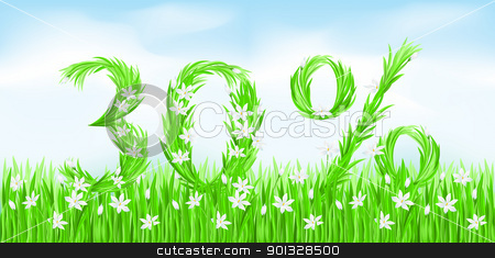 Eco-Style Grass Letters. stock photo, Eco-Style Grass Letters. Thirty percent. Vector version letters is in my gallery. by dvarg