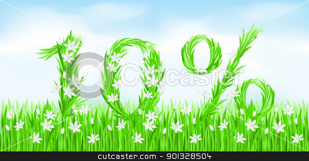 Eco-Style Grass Letters. stock photo, Eco-Style Grass Letters. Ten percent. Vector version letters is in my gallery. by dvarg