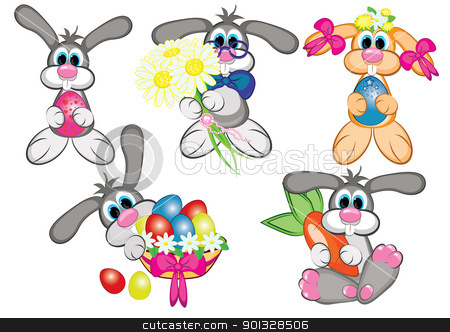 Bunnys With Easter Eggs stock photo, Set of Bunnys With Easter Eggs. Raster version. Vector version is in my gallery.  by dvarg