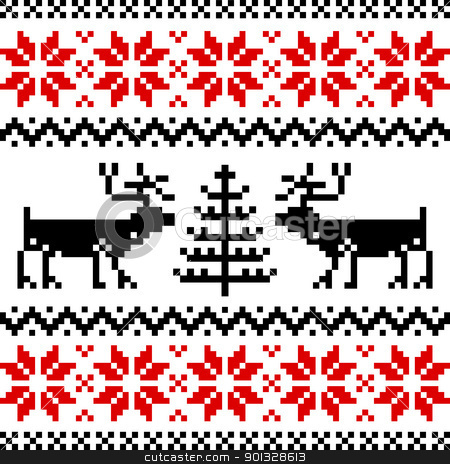 Nordic pattern stock vector clipart, Nordic pattern with deer, black and red pattern on white background. by Ela Kwasniewski