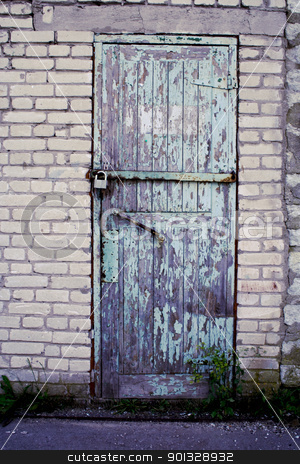 Door of mine closed by old lock stock photo, Weathered door of mine closed by old lock by vetdoctor