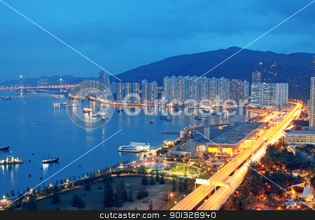 magic hour in downtown city stock photo, magic hour in downtown city,  hongkong  by Keng po Leung