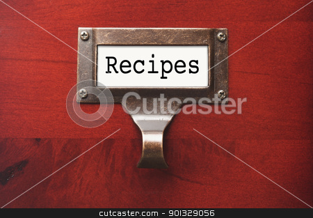 Lustrous Wooden Cabinet with Recipes File Label stock photo, Lustrous Wooden Cabinet with Recipes File Label in Dramatic LIght. by Andy Dean