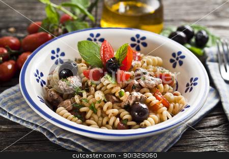 Italian Fusilli pasta with swordfish stock photo, Italian Fusilli pasta with swordfish,olive and raw tomato by maxg71