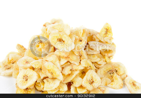 Banana Chips stock photo, A pile of dried banana chips, isolated against a white background. by Richard Nelson