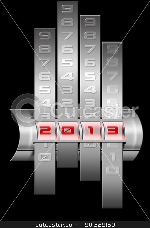 2013 change stock photo, Calendar of steel with a written 2013 and digit slide  by catalby